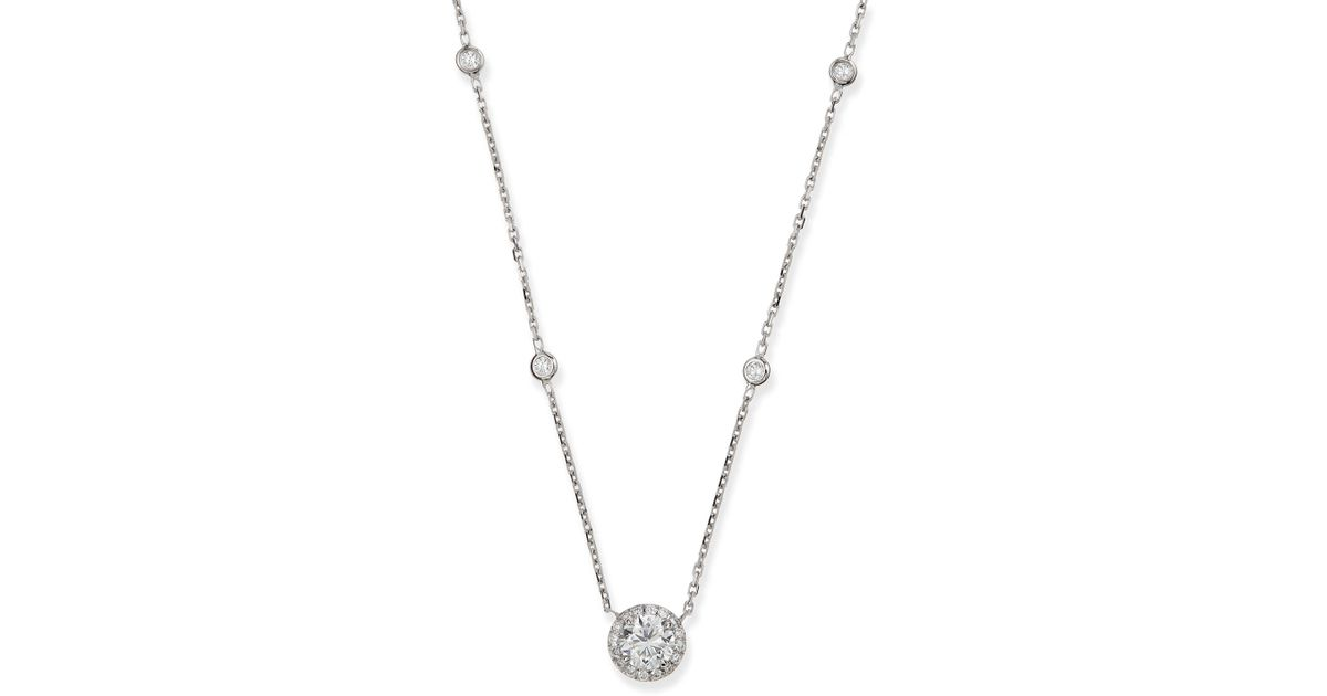 Lyst messika joy round diamond pendant necklace in white mozeypictures Image collections