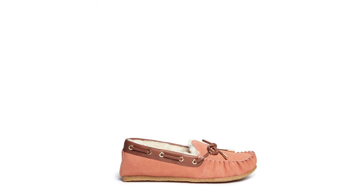 380db940a58 Lyst - Tory Burch  maxwell  Fur Lined Suede Moccasins in Pink