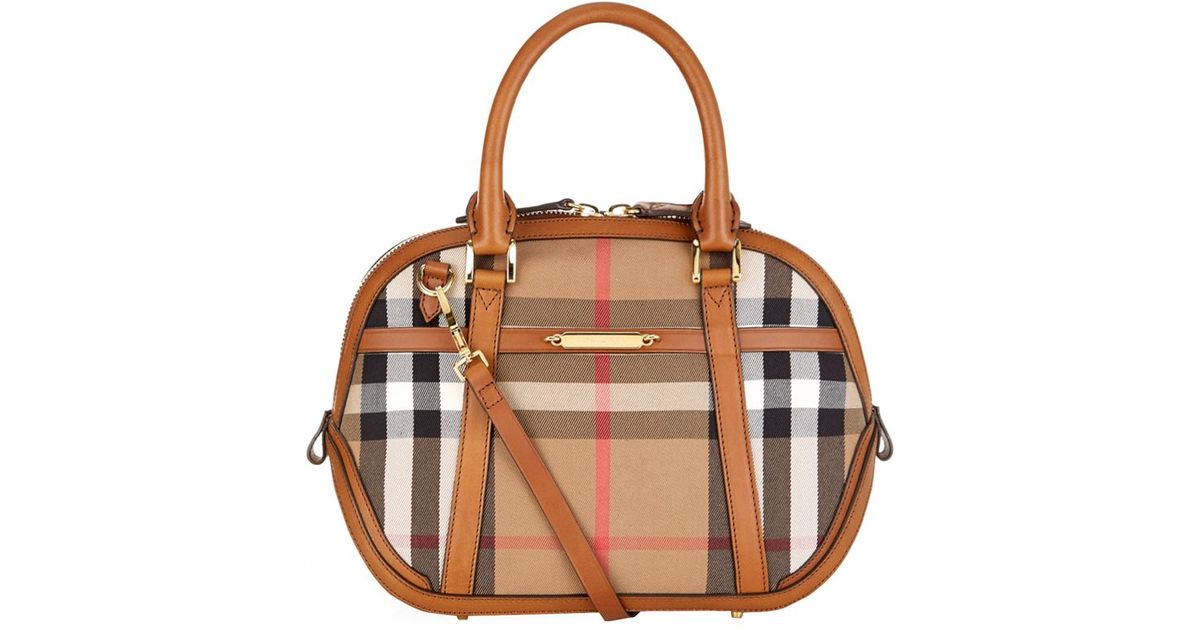 08ed3a25bffc Burberry Small Orchard House Check Bowling Bag in Brown - Lyst