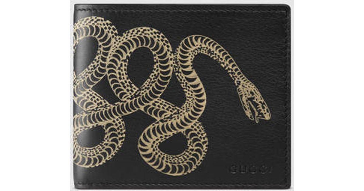 071c117f17cd Gucci Gucci Snake Leather Wallet in Black for Men - Lyst