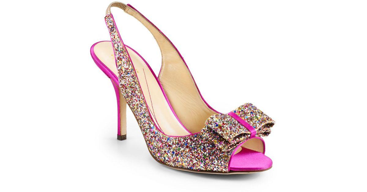 0982eb877f59 Lyst - Kate Spade Charm Glitter Bow Slingback Pumps