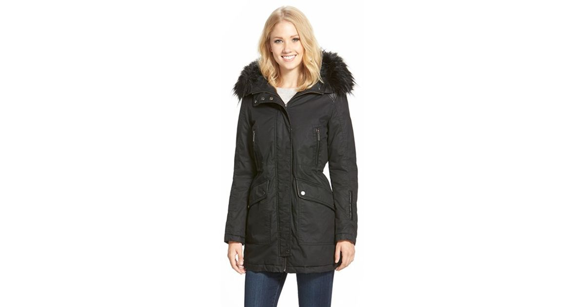 f5533cf8abb8 Lyst - French Connection Waxed Cotton Parka With Faux Leather   Faux Fur  Trim in Black