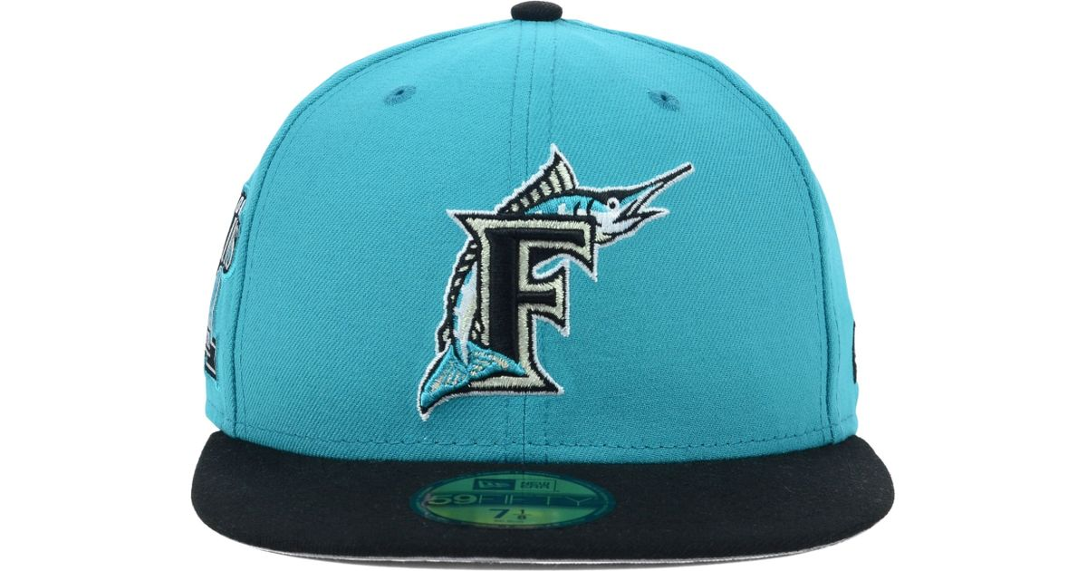 low cost b4929 8660b Lyst - Ktz Florida Marlins Patched Team Redux 59fifty Cap in Blue for Men