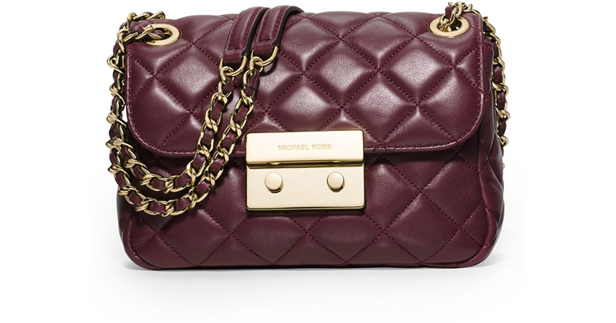 348ed15f8d8e MICHAEL Michael Kors Sloan Small Quilted Bag in Purple - Lyst