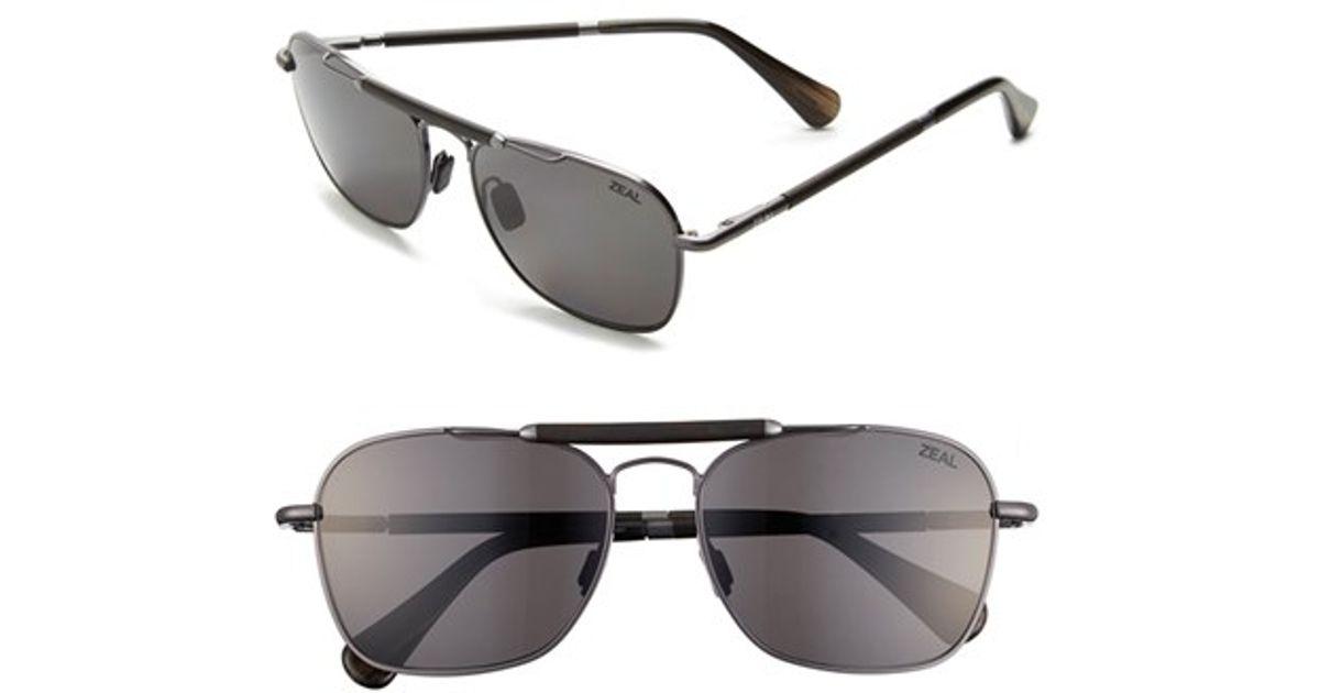 5f5a477b7e Lyst - Zeal Optics  draper  55mm Polarized Plant Based Sunglasses - Draper  Polished Steel in Metallic