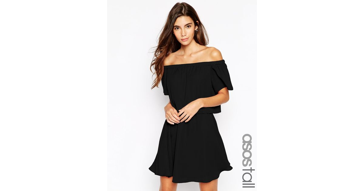 0482f65f961 ASOS Gypsy Off Shoulder Dress With Short Sleeves in Black - Lyst