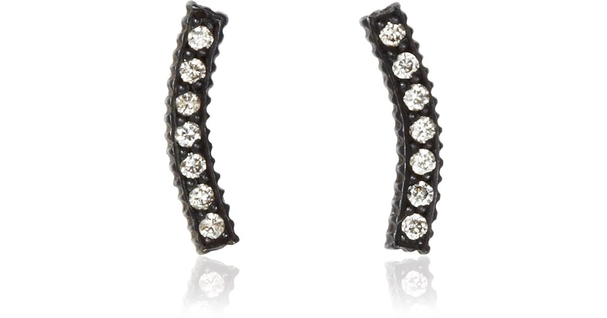 a2175df43 Yossi Harari Lilah Stick Pave Diamond Smile Stud Earrings in Oxidized  Gilver in Black - Lyst