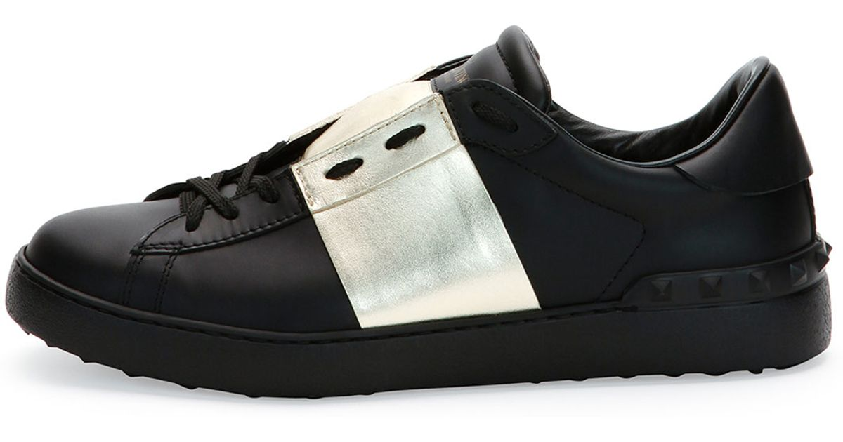 Valentino Leather Low-Top Sneaker With