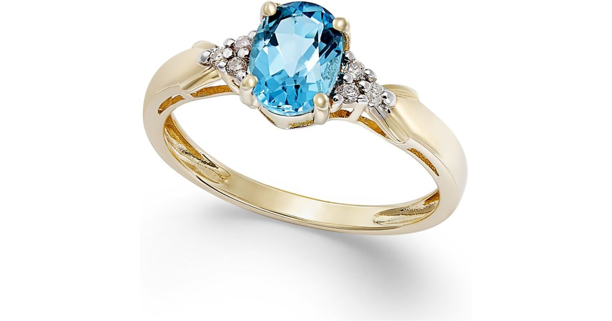 Macy s Blue Topaz 3 4 Ct T w And Diamond Accent Ring In 10k Gold in B