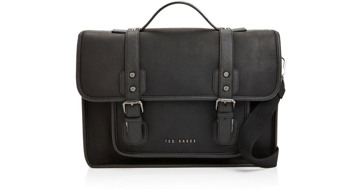 Lyst - Ted Baker Honkar Faux Leather Messenger Bag in Black for Men cae159eef7a03
