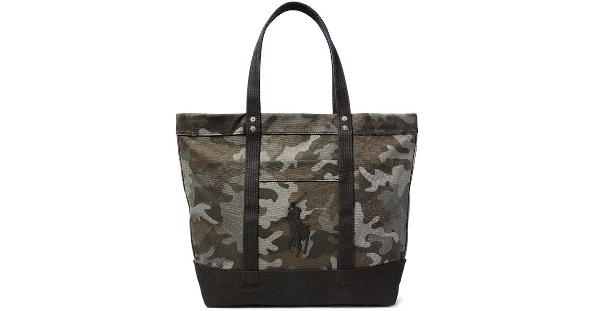 3f580384ae Lyst - Polo Ralph Lauren Big Pony Camouflage Tote in Black