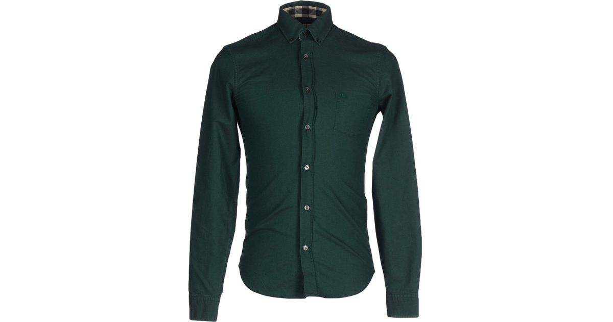 Burberry brit shirt in green for men emerald green lyst Emerald green mens dress shirt