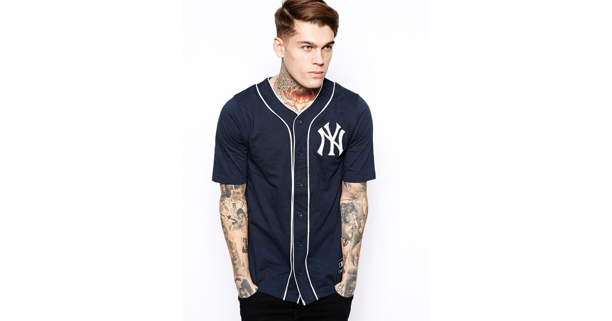 watch ac3ee 89bcf Majestic Blue Ny Yankees Jersey Baseball Top for men