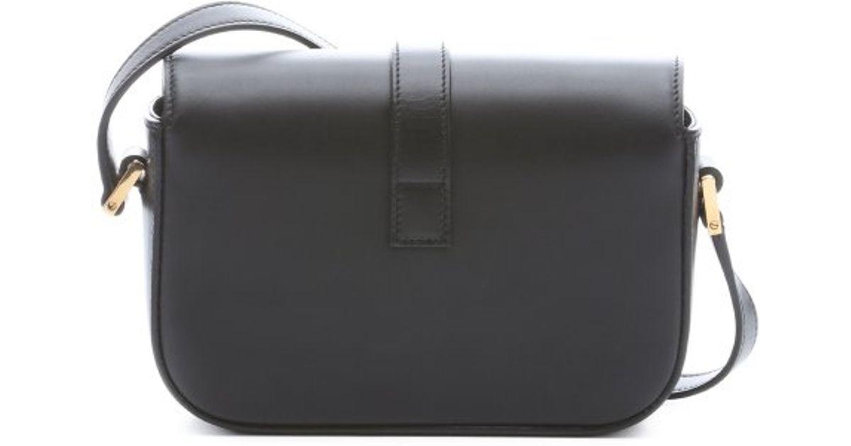 Lyst Saint Lau Black Leather Ysl Logo Mini Crossbody Bag In