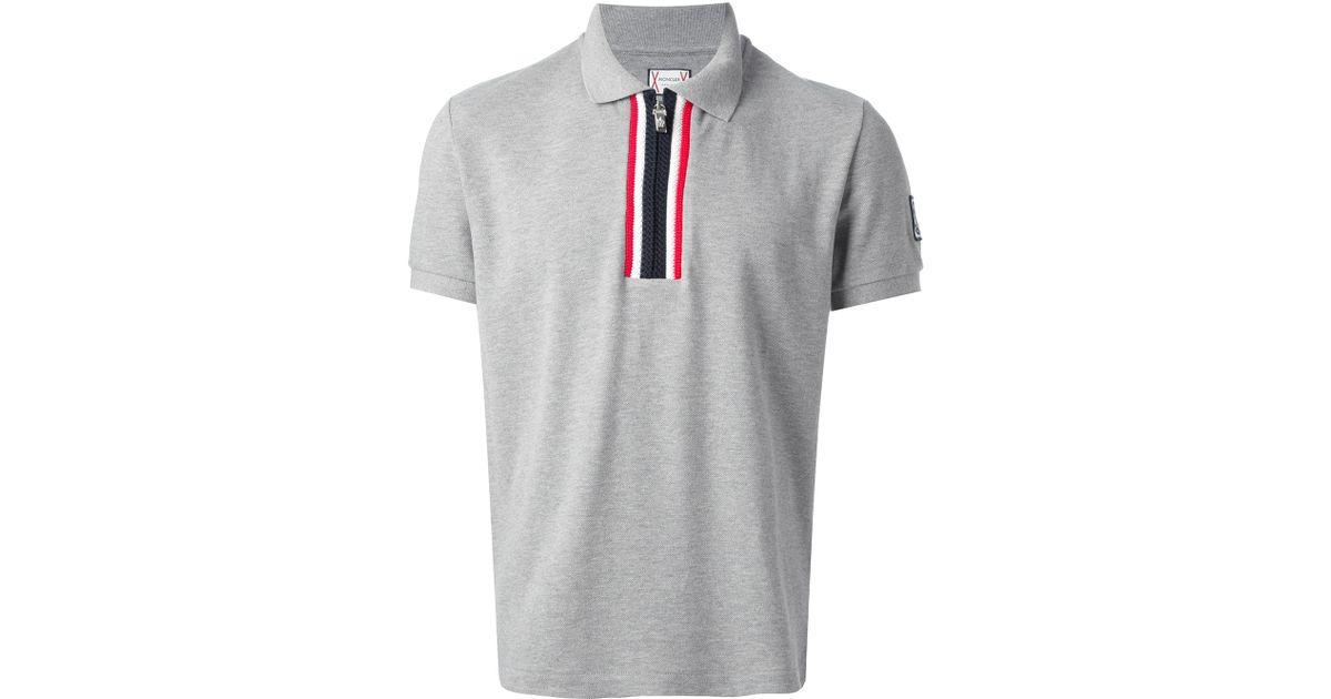b45bd1f24 Moncler Gamme Bleu Gray Zip Fastening Polo Shirt for men