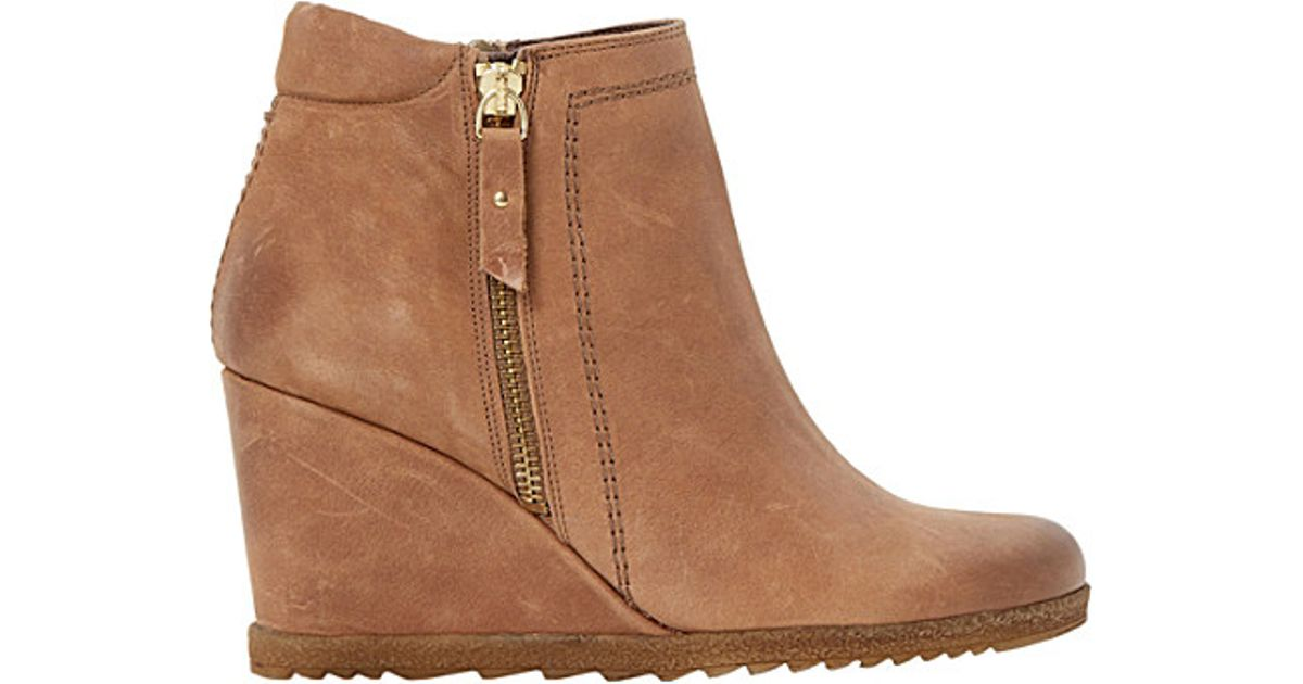 dune pacino leather wedge ankle boots in brown lyst
