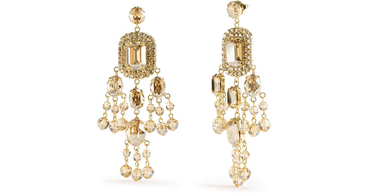 Lyst ralph lauren swarovski chandelier earrings in metallic aloadofball Image collections