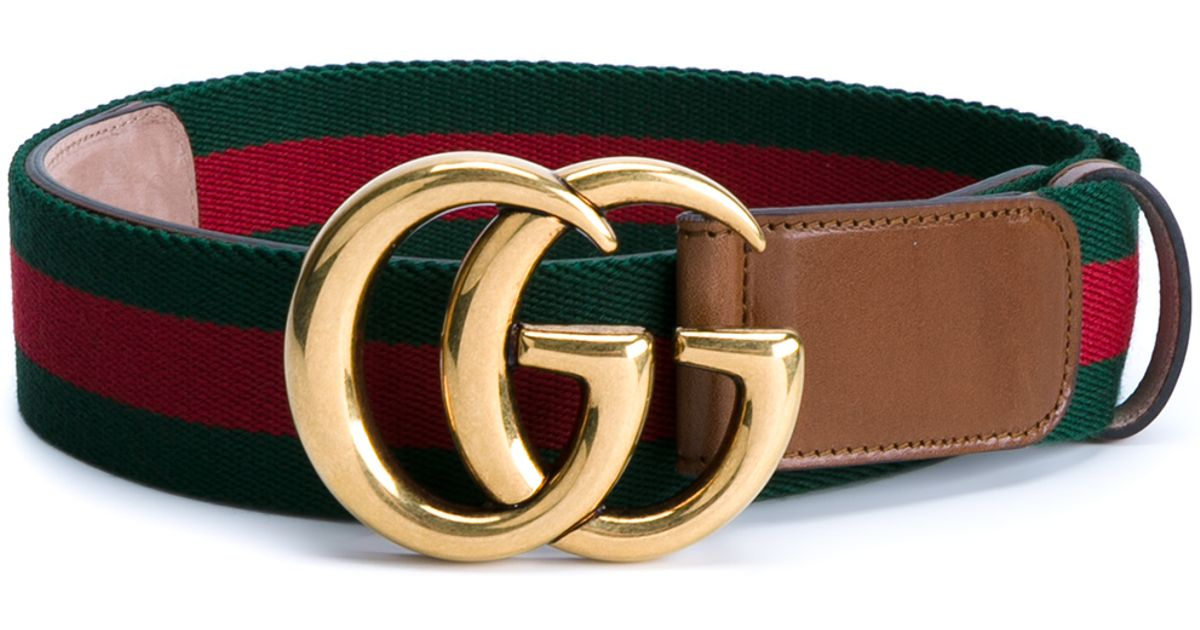414f3a4dcab Gucci Web   Logo Canvas And Leather Belt in Green - Lyst