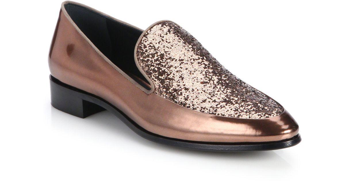 2ee8adcf1 Prada Glitter Metallic Leather Loafers in Metallic - Lyst