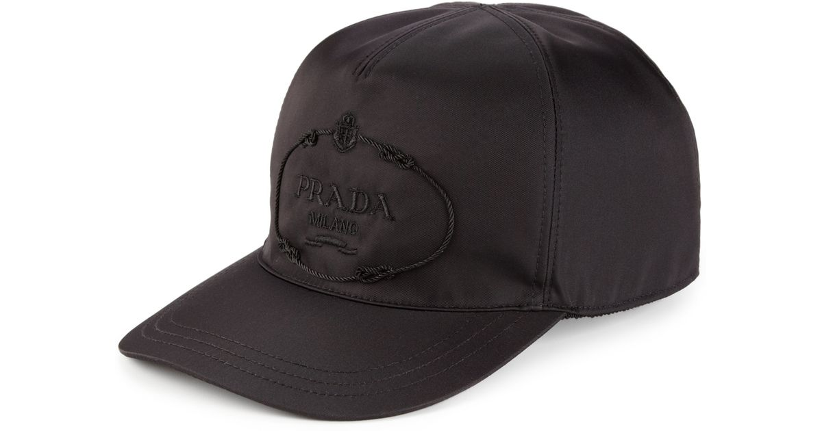 Lyst - Prada Nylon   Calf Leather Baseball Cap in Black for Men 1f4b735c156