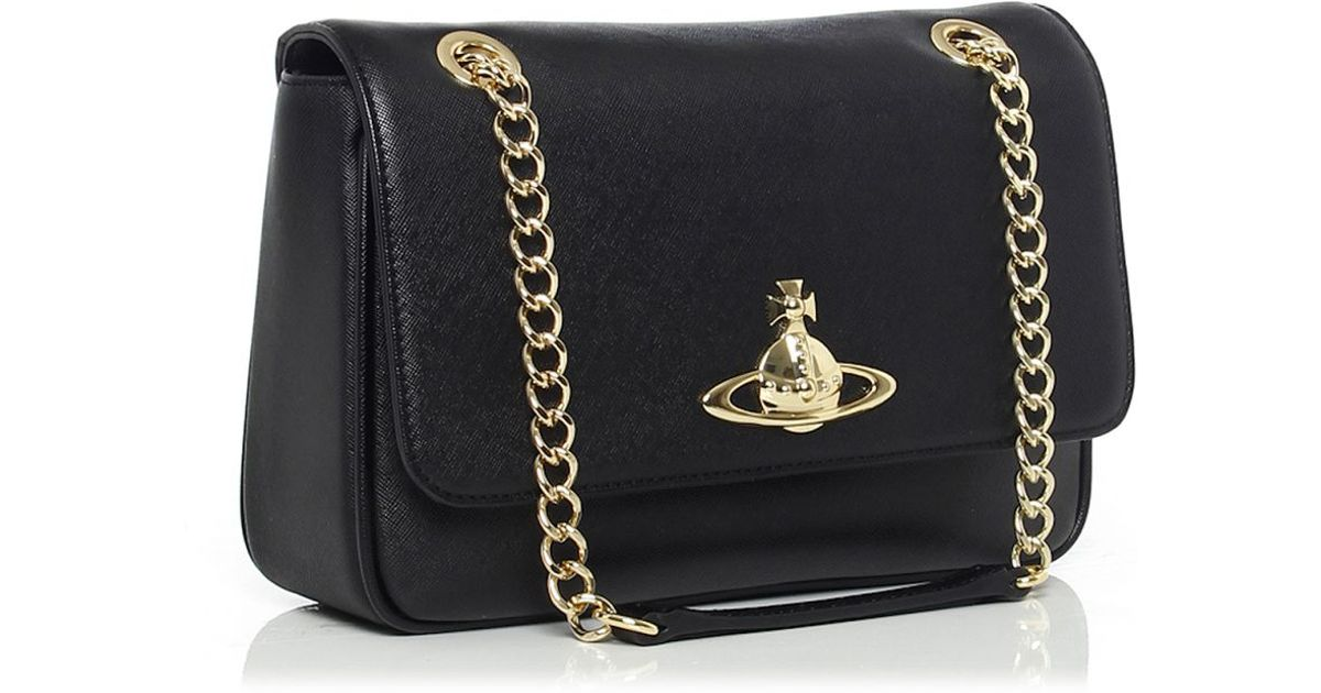 5a80c5b0717 Vivienne Westwood Divina Chain Shoulder Bag in Black - Lyst