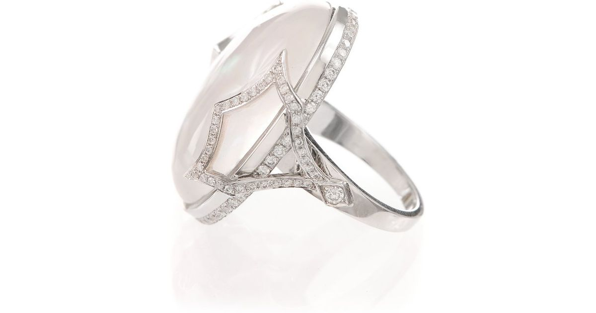 Lyst   Ivanka Trump Pave Diamond Pagoda Shank Cabochon Cocktail Ring In  White