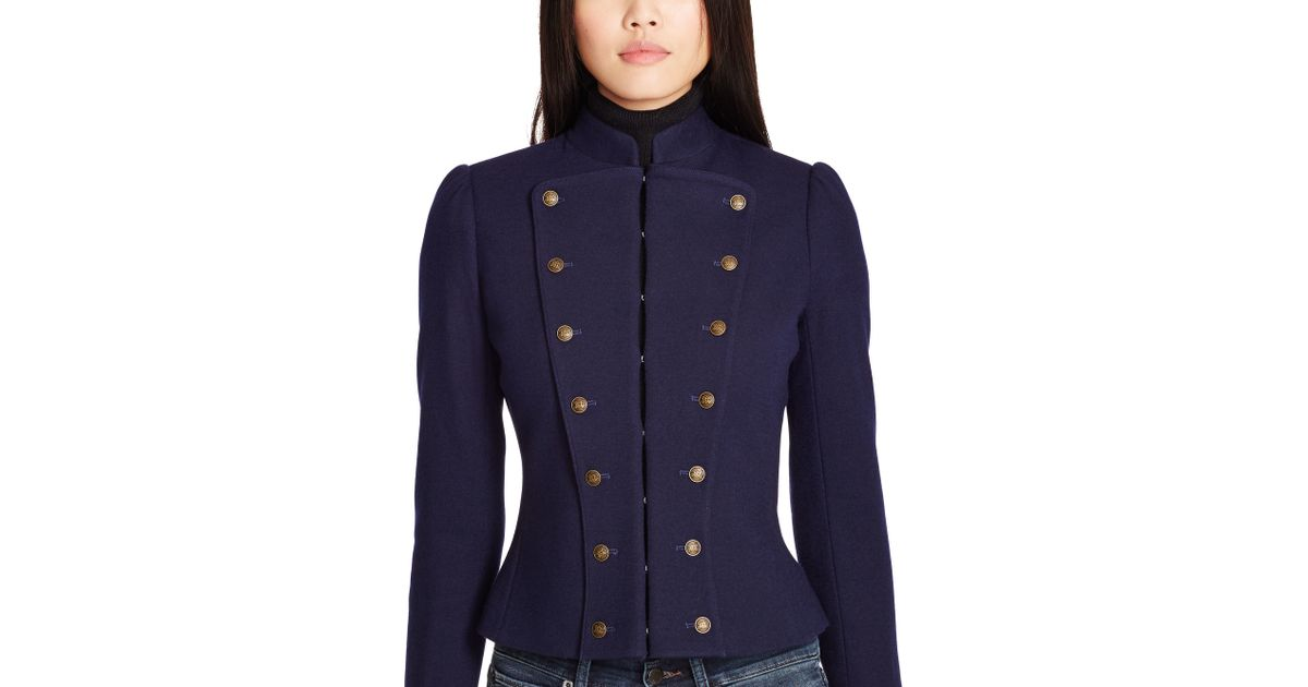 3494d568eed Polo Ralph Lauren Wool-Blend Military Jacket in Blue - Lyst