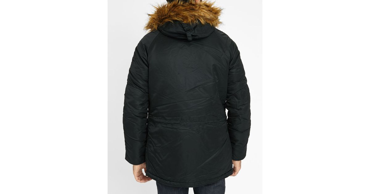 alpha industries black nylon original snorkel parka in. Black Bedroom Furniture Sets. Home Design Ideas