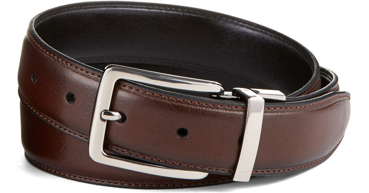 black brown leather belt in brown for black lyst