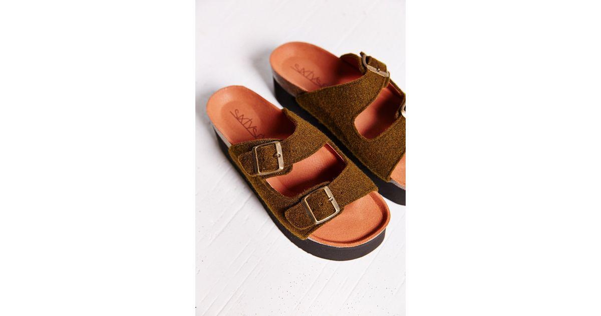 a9f4f3f6ec4 Lyst - Sixtyseven Felt Indigo Platform Sandal in Brown