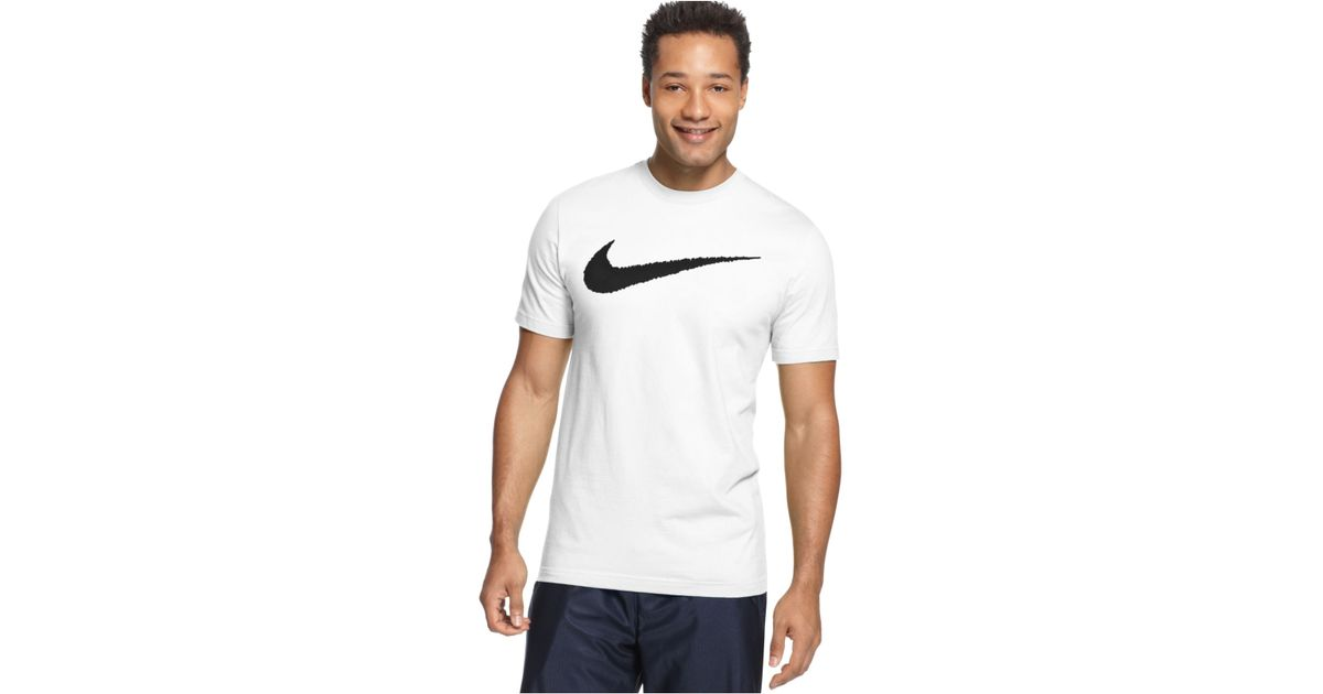 Nike Men 39 S Hangtag Swoosh T Shirt In Black For Men White