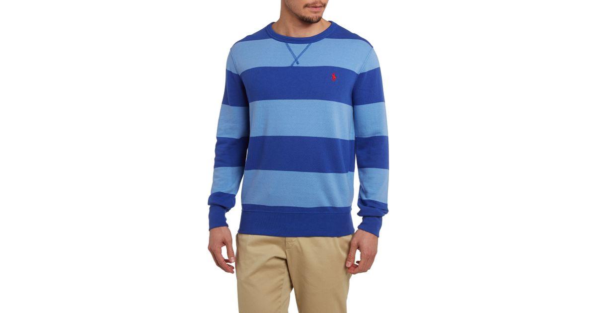 faaa13d2a Lyst - Polo Ralph Lauren Atlantic Terry Striped Crew Neck Sweatshirt in  Blue for Men