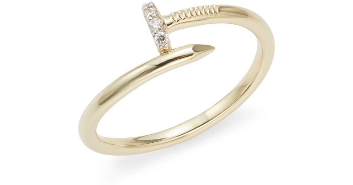 Lyst Kc Designs Brilliant 0 05 Tcw Diamond 14k Yellow Gold Nail