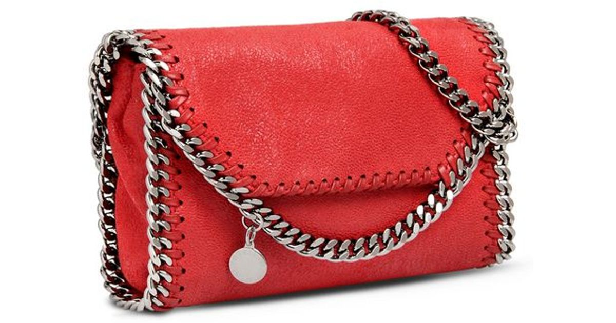 d4b38c34d1 Lyst - Stella McCartney Cherry Falabella Shaggy Deer Tiny Fold Over Tote in  Red