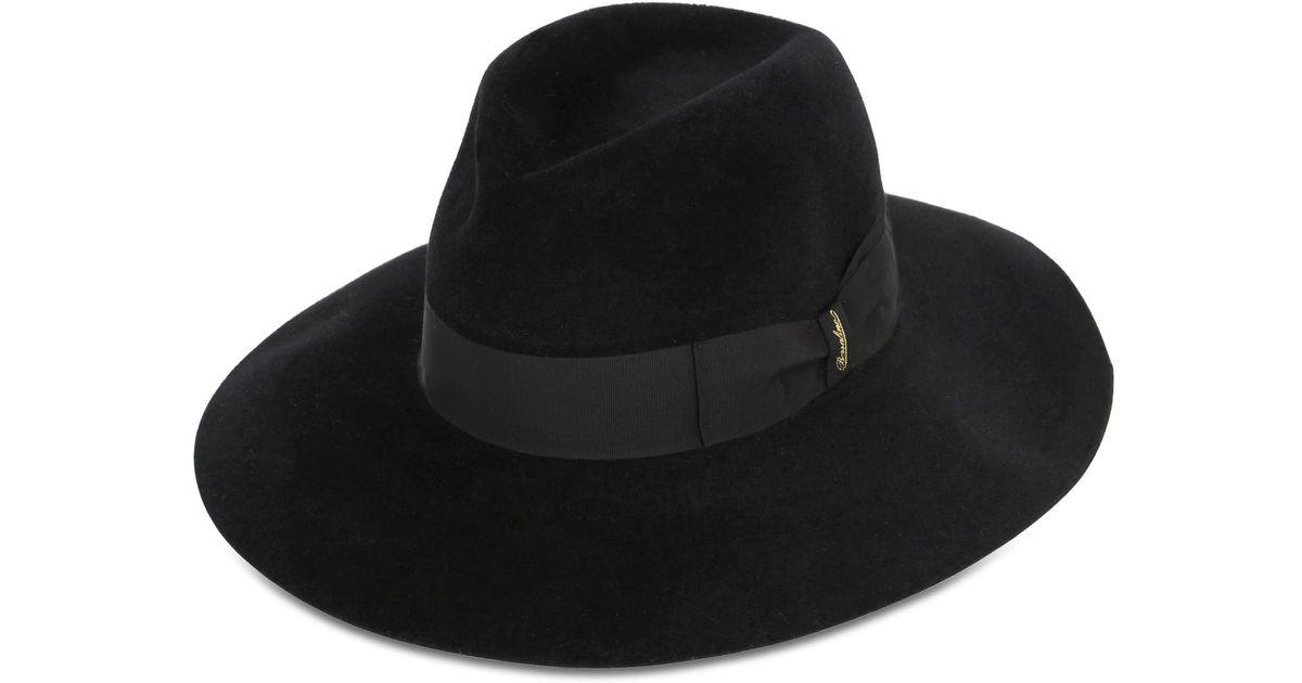 Lyst - Borsalino Lapin Fur Felt Velour Wide Brim Hat in Black bcfecadd2ef