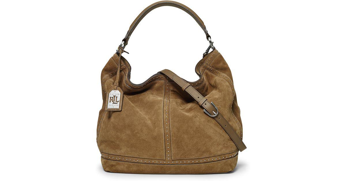 Ralph lauren Bastwick Suede Hobo Bag in Brown | Lyst