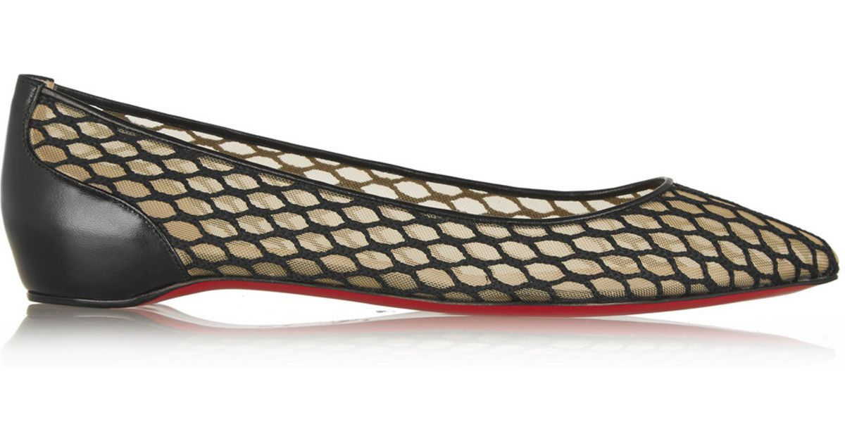 493019ecc3b Lyst - Christian Louboutin Pigaresille Leather-Trimmed Mesh Point-Toe Flats  in Black