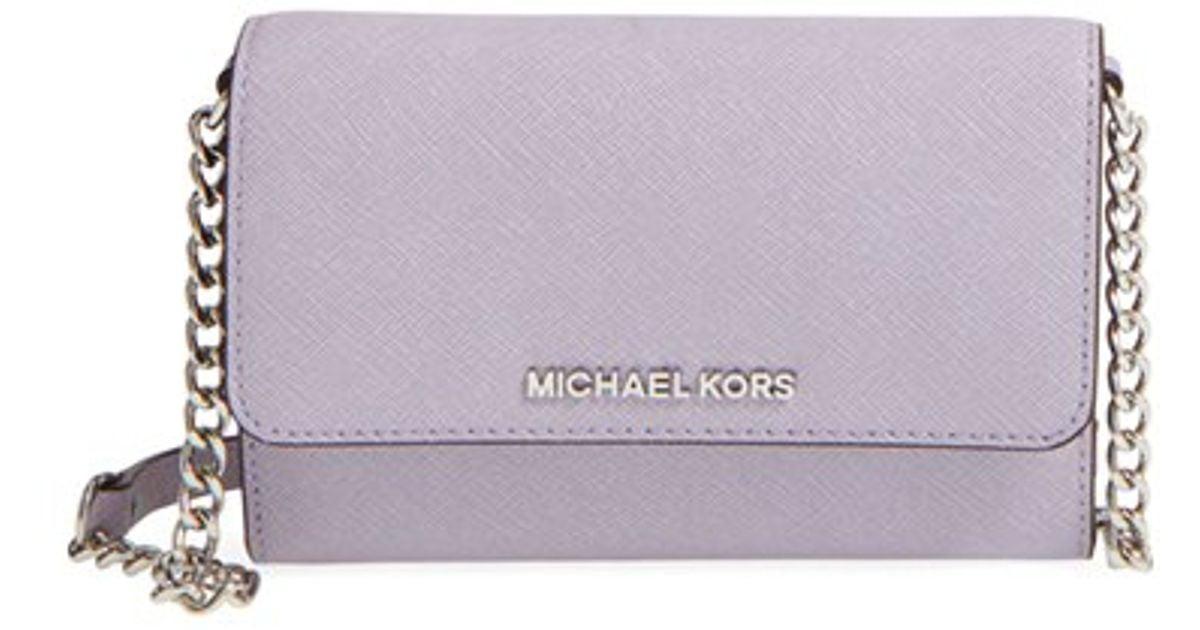 8a51962f899a Lyst - MICHAEL Michael Kors  large Jet Set  Saffiano Leather Crossbody Bag  - Purple in Gray