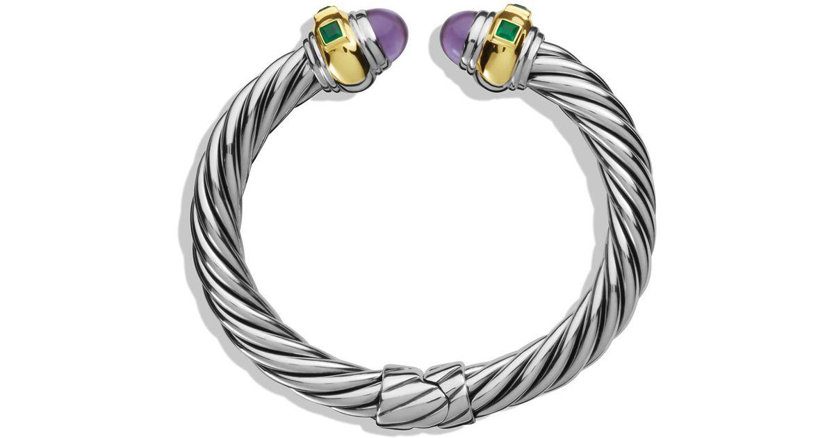 Lyst David Yurman Renaissance Bracelet With Amethyst Green Onyx Gold In Metallic