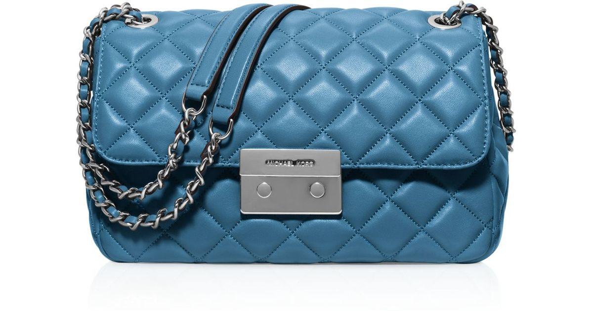 b0c9333d26f7 MICHAEL Michael Kors Sloan Large Chain Shoulder Bag in Blue - Lyst