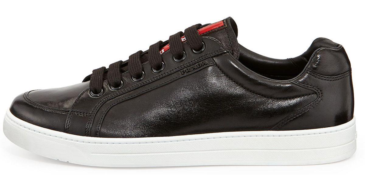 Black Low Men Top Mens For Leather Avenue Prada Sneaker nkPO8w0X