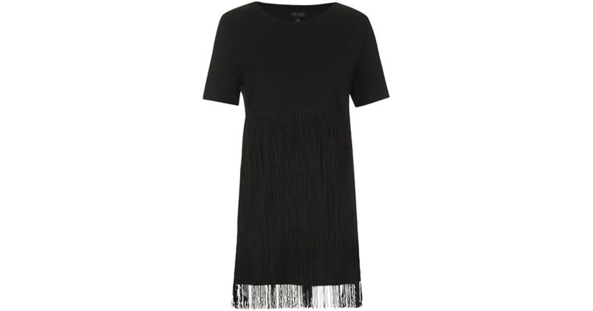 10a90414d72df Lyst - TOPSHOP Fringe T-Shirt Tunic in Black