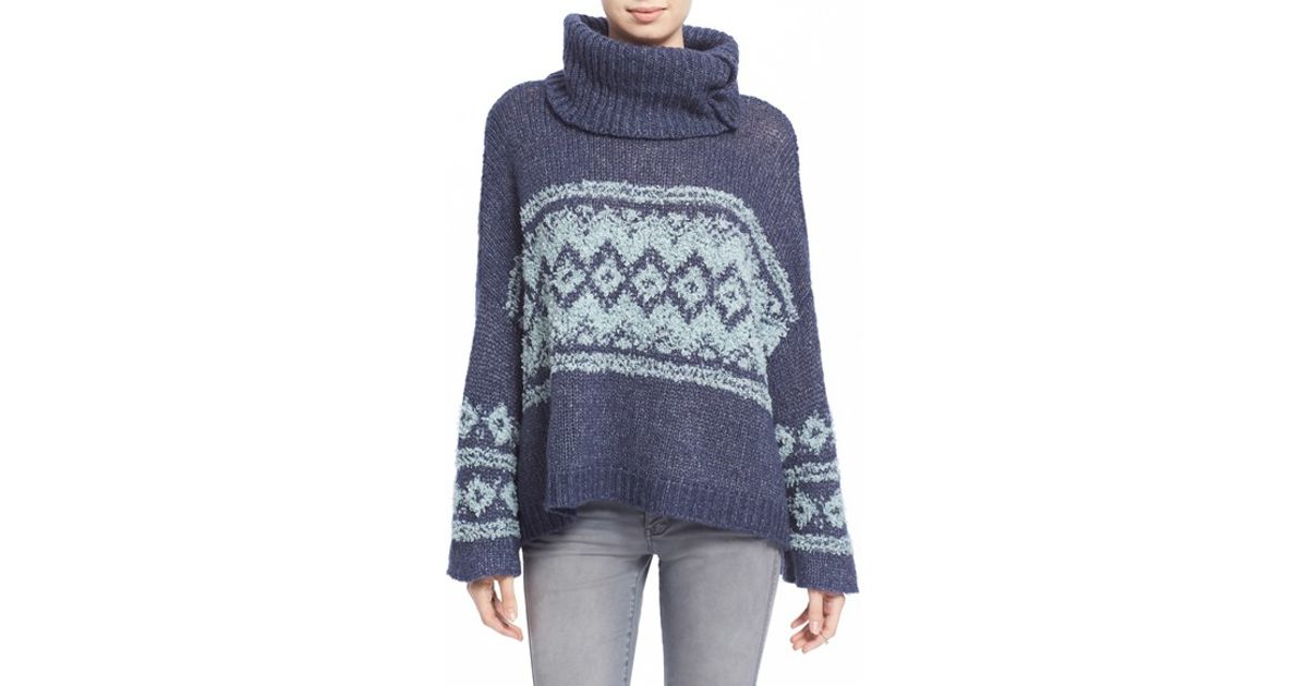 Lyst - Free people Fair Isle Split Neck Sweater in Blue