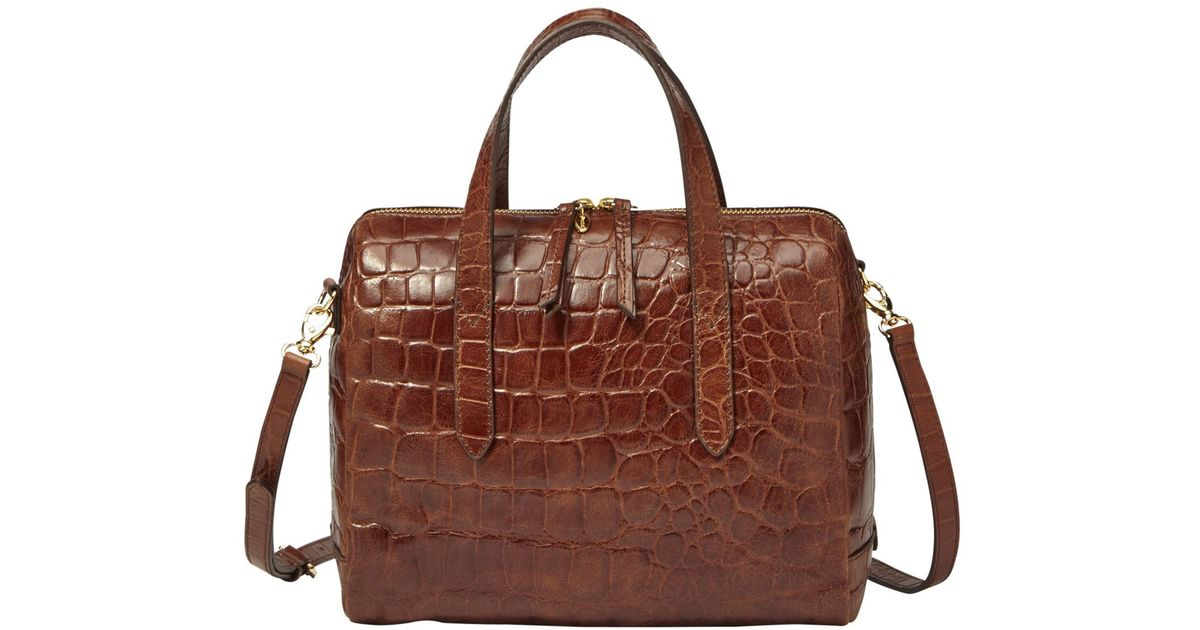 9c72383d58 Fossil Sydney Croco Leather Satchel in Brown - Lyst