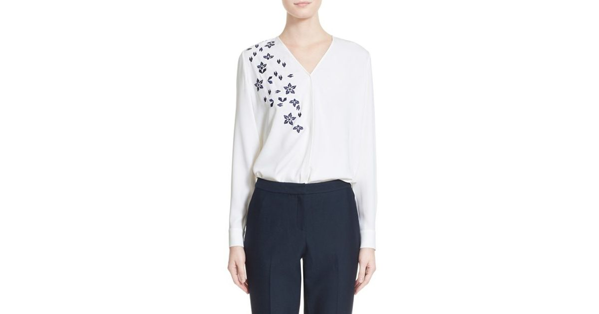 a00c462be43fb1 Lyst - Nordstrom Embroidered Silk Satin Georgette Blouse in White