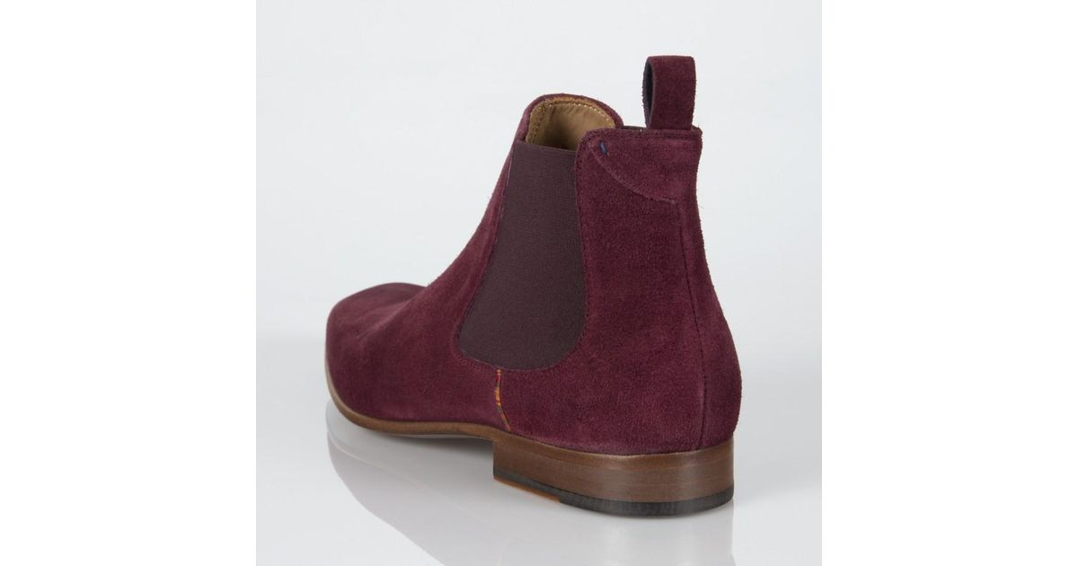 5d84085f7700 Paul Smith Burgundy Suede 'Falconer' Chelsea Boots in Purple for Men - Lyst
