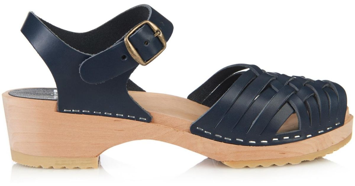 Funkis 150 woven leather clogs in blue navy lyst for Funkis sale