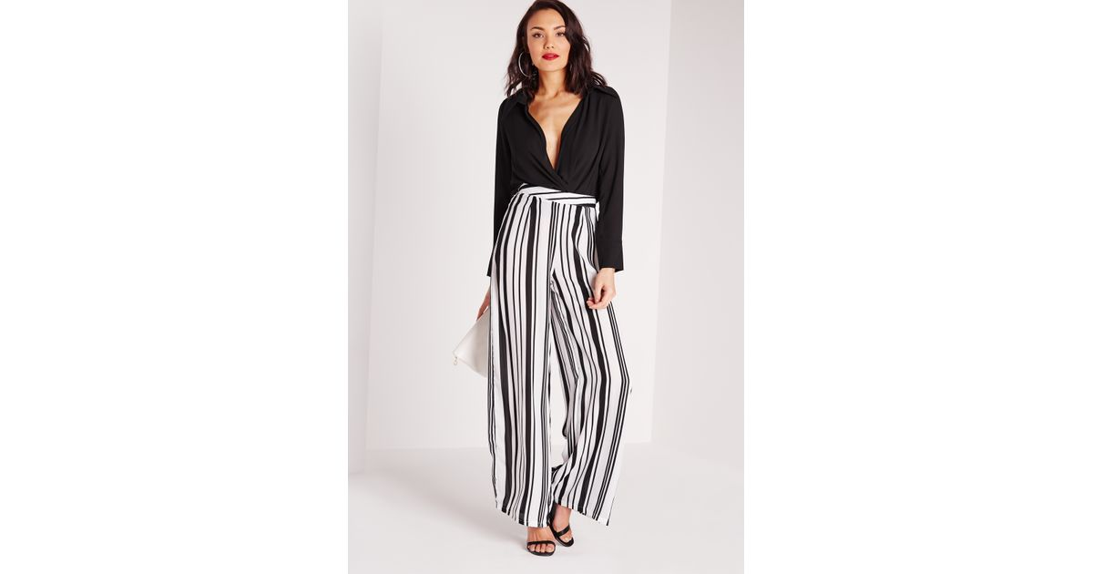 Missguided Stripe Wide Leg Trousers White in White | Lyst