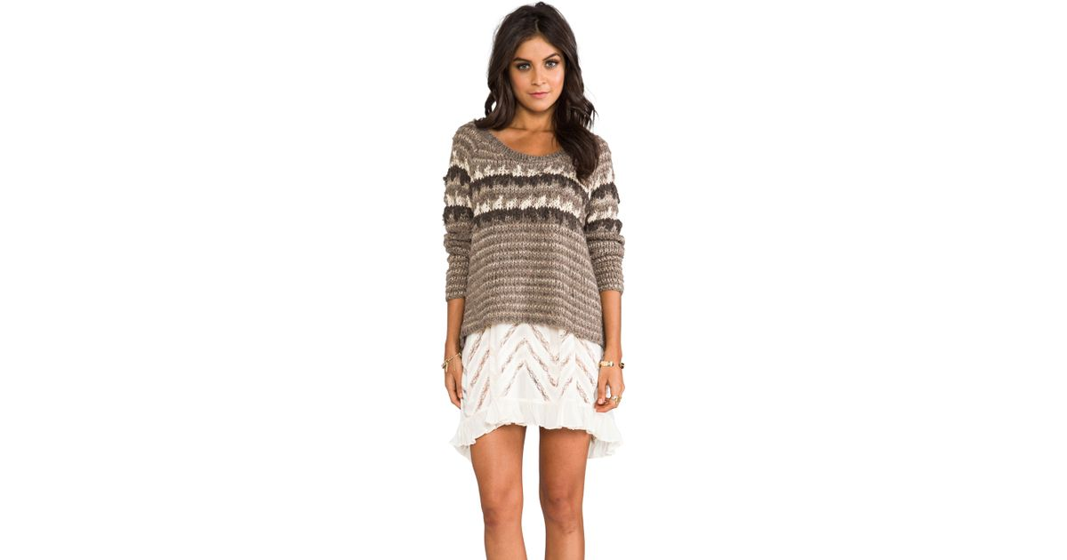 Free people Fuzzy Fair Isle Pullover in Taupe in Brown | Lyst