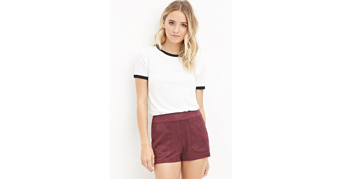 daf524b25e Forever 21 Faux Suede Shorts in Purple - Lyst